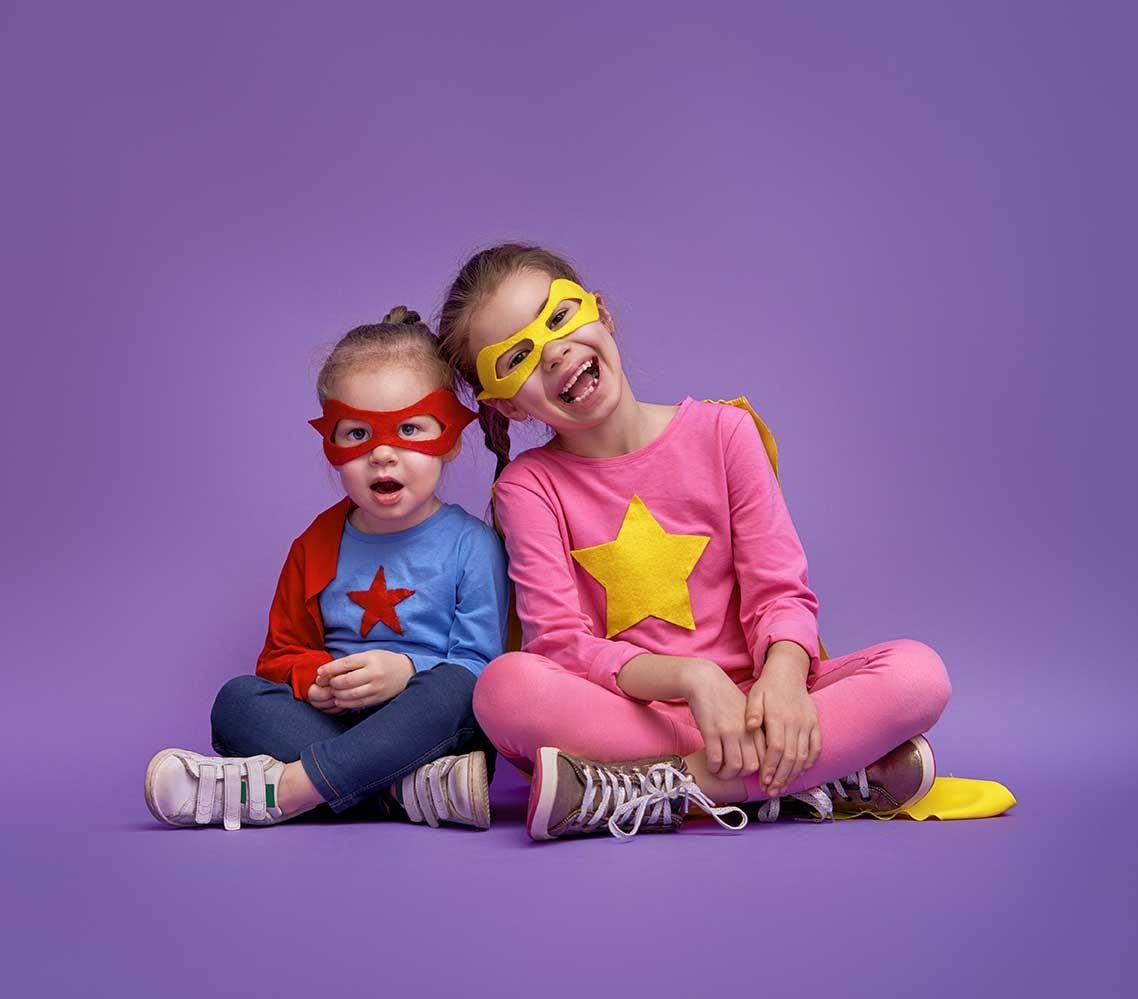 Kids dressed as super heros